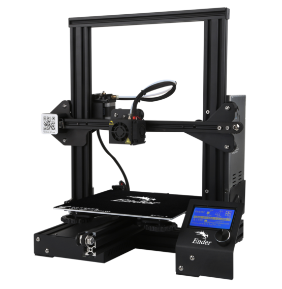Ender 3 3D printer angled front view